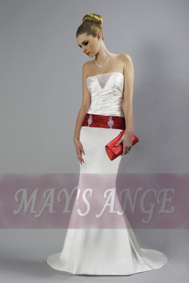 Long wedding dress - Online wedding dresses Brooke white satin - M035 #1