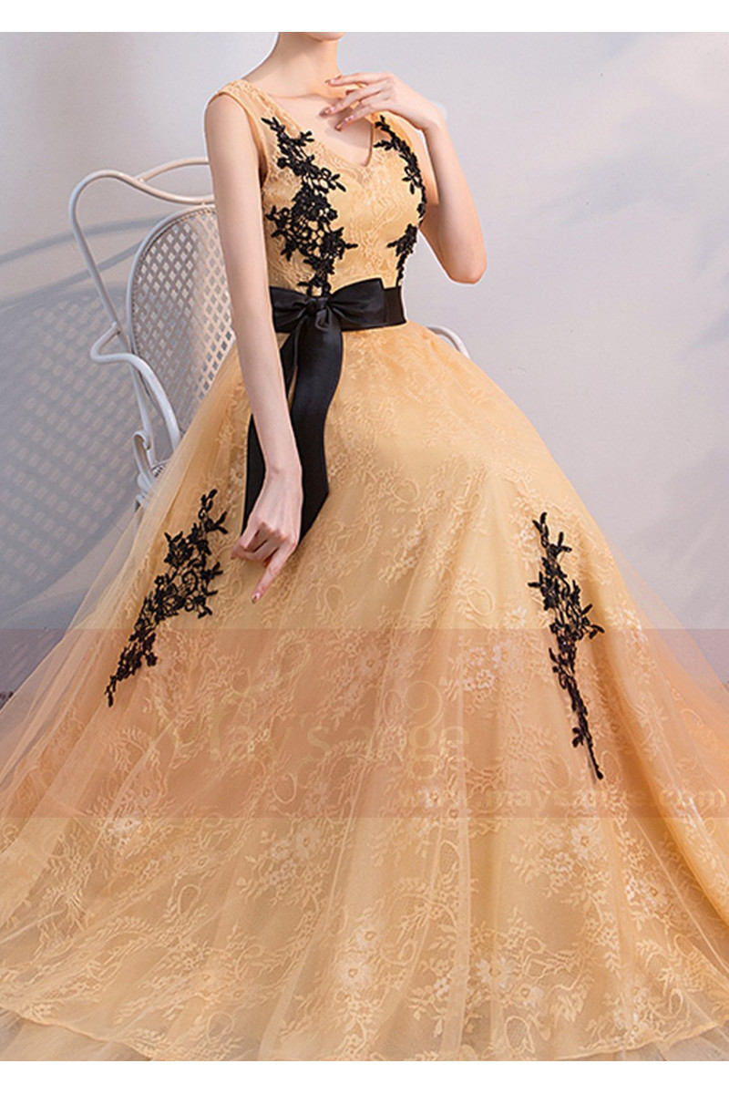 Gold Long Bridesmaid Dress With Black Embroidered Lace