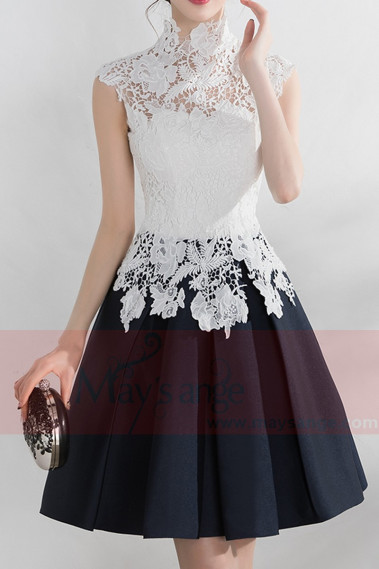 High Collar Short Black And White Cocktail Dress With Lace Bodice