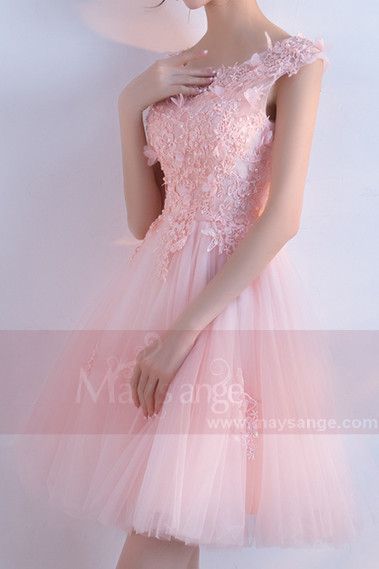 Short Tulle Embellished Lace Applique Bridesmaid Dress