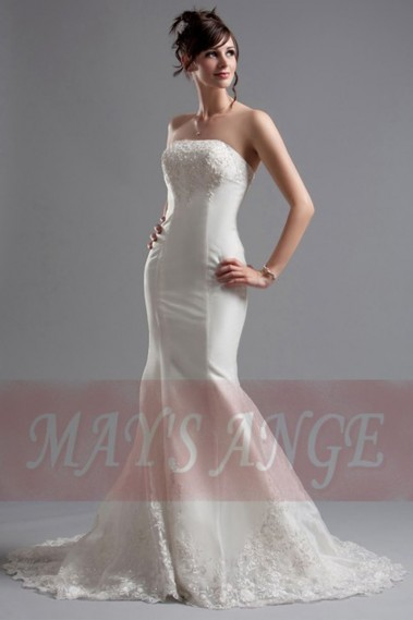 White wedding dress - Beach wedding dress Mermaid With Train - M037 #1