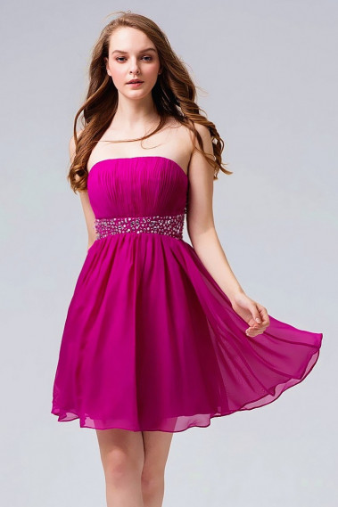 Open-Back Fuchsia Cocktail Dress With Rhinestone Belt - C550 #1