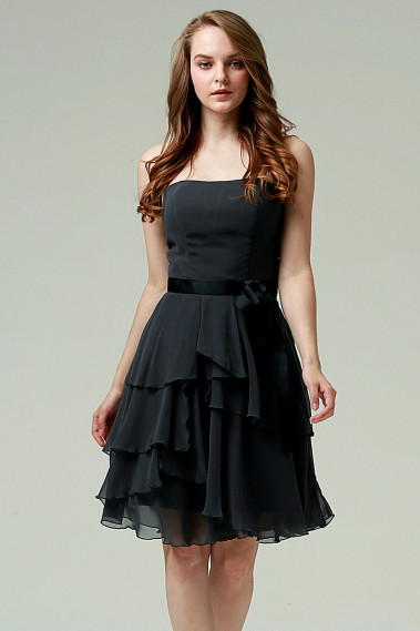 Knee-Lenght Short Black Cocktail Dress - C564 #1