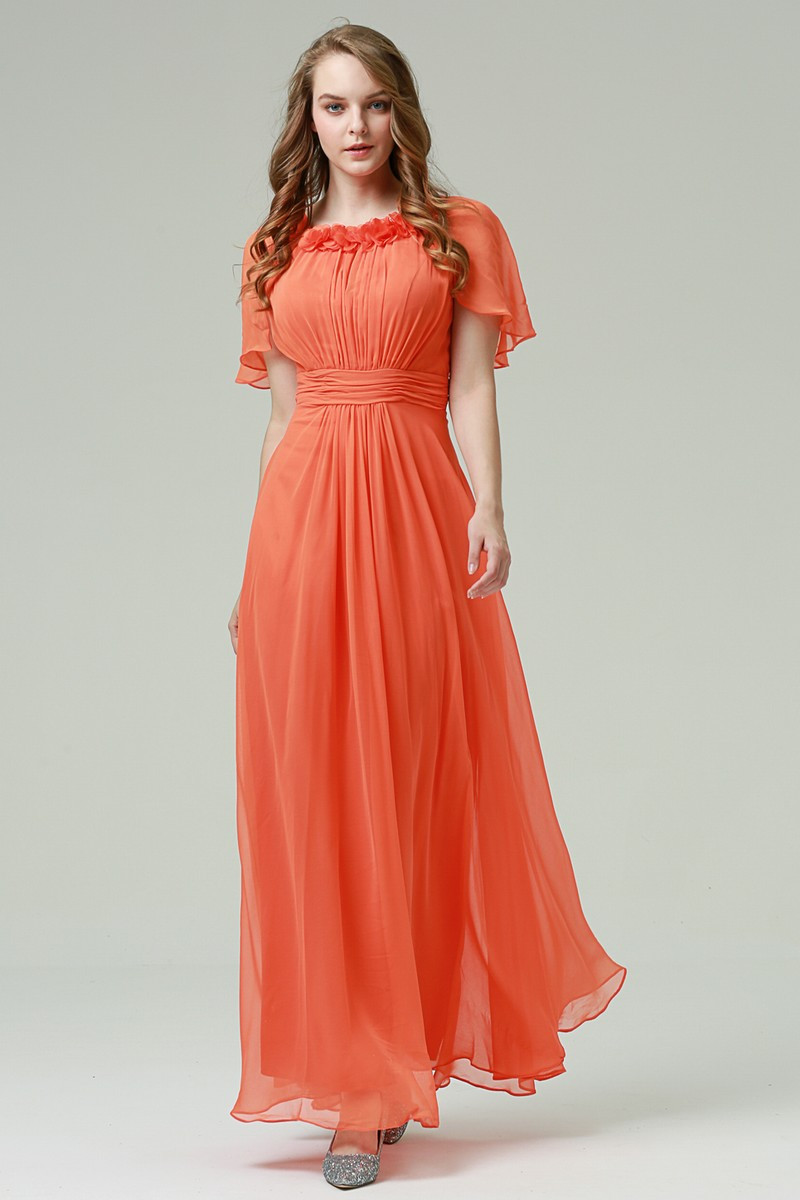 88f5611b5451 Affordable Prom Dress Orange With Flounce Sleeves - Ref L529 - 01