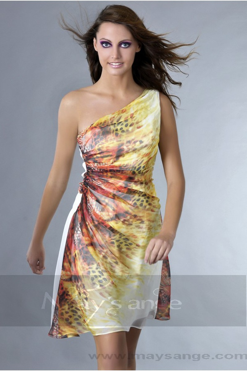 Print Short Party Dress With One-Shoulder Neckline - Ref C130 - 01