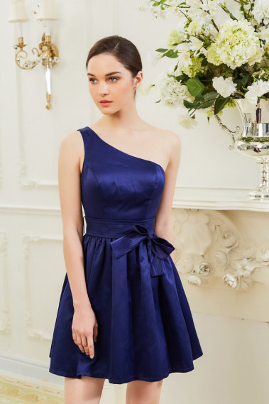 Navy Blue One Shoulder Cute summer outfits With Bow Tie - C901 #1