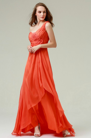Evening Dress with straps - Sleeveless Orange Dress One Shoulder With Slit - L173 #1