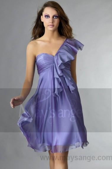 Long cocktail dress - Short Violet One-Shoulder Ruffled Cocktail Party Dress - C131 #1