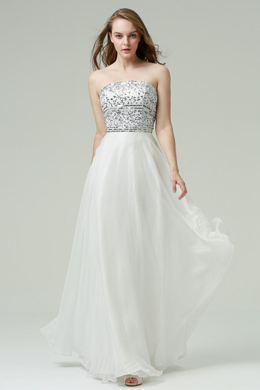 Elegant Evening Dress - Strapless White Prom Dress With Glitter Bodice - L231 #1