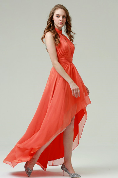 Cheap Bridesmaid Dresses - Long Evening Dress In Orange Muslin - L528 #1