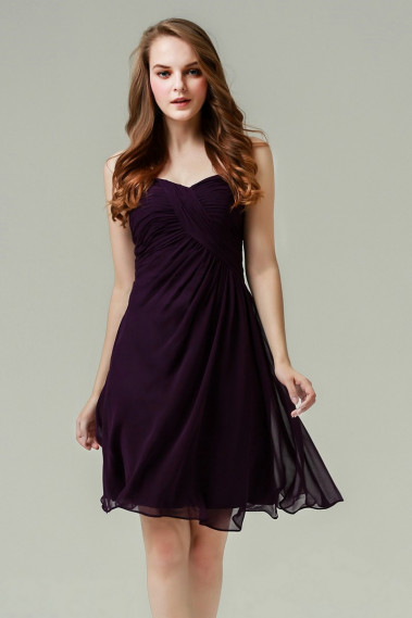 Long cocktail dress - Ruched-Bodice Short Party Dress - C691 #1