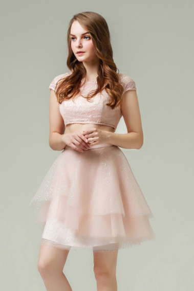2018 Cocktail Dresses - Two-Piece Short Pink Party Dress With Lace - C870 #1