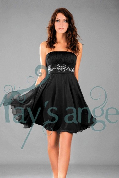 Long cocktail dress - Black Strapless Homecoming Dress With Rhinestone Belt - C116 #1