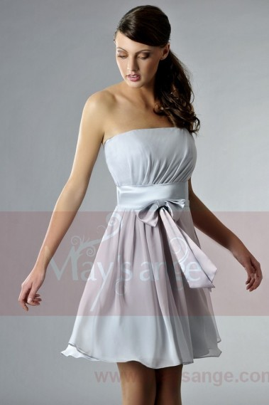 Silver Strapless Chiffon Party Dress - C133 #1