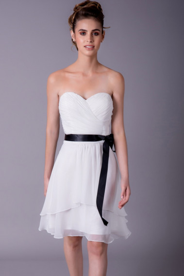 Cheap cocktail dress - White Strapless Cocktail Dress - C952 #1