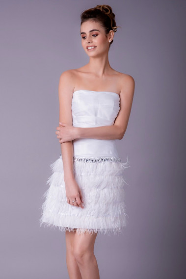 Short evening dress - Strapless Cut White Dress With Feather Skirt - C757 #1