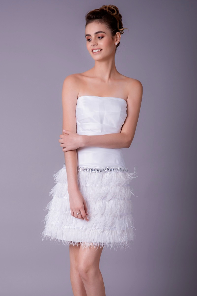 d4cf7a47cf Strapless Cut White Dress With Feather Skirt - Ref C757 - 01