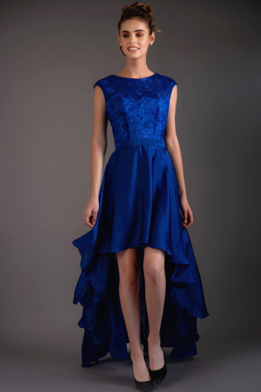 Fluid cocktail dress - Asymmetrical Classy Blue Evening Dress - C953 #1