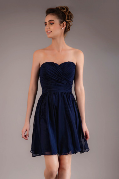 Long cocktail dress - Short Strapless Navy Blue Cocktail Dress - C565 #1
