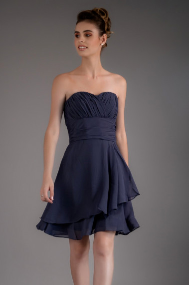Short Blue Cocktail Dress With Draped Sweetheart Neckline - C548 #1