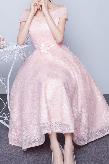 Long Pink Lace Prom Dress