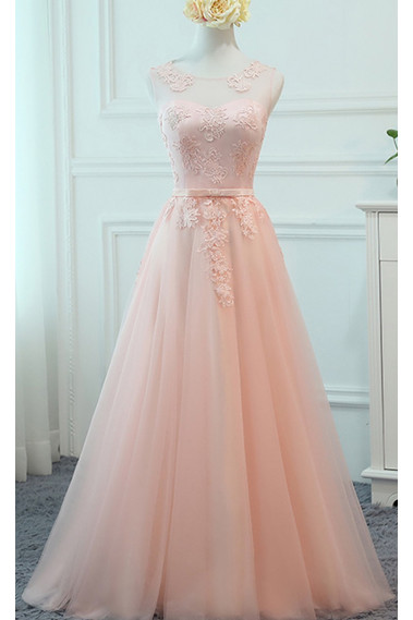 Open Back Light Pink Long Evening Dress-Lace Bodice