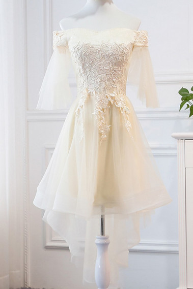 robe cocktail jaune avec manche mi long tulle - C956 #1
