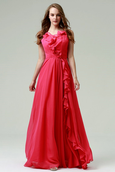 Pink evening dress - Long Chiffon Evening Dress With Ruffles - L900 #1