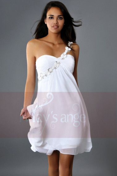 Short cocktail dress - Cute White Homecoming Dresses One Flower Strap - C128 #1