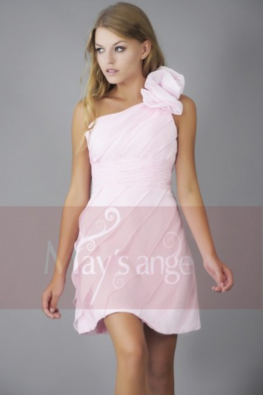 Long cocktail dress - One Shoulder Pale Pink Cocktail Dress - C144 #1