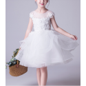 Robe Tulle Douce Blanche Fille Corsage Brodé - Ref TQ015 - 04