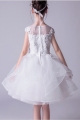 Robe Tulle Douce Blanche Fille Corsage Brodé - Ref TQ015 - 05