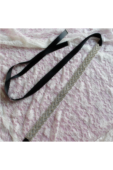 Sparkly golden braided black bridal belt - YD006 #1