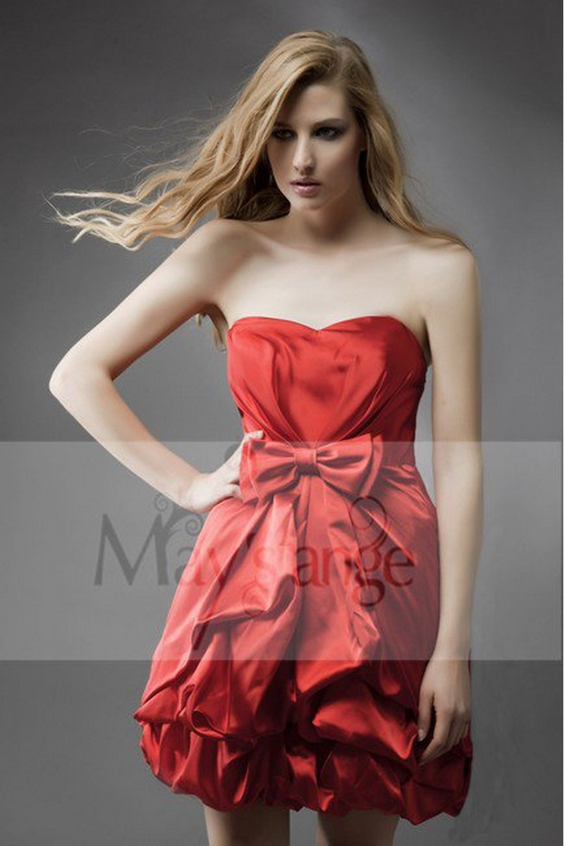 Robe de cocktail rouge feu - Ref C081 - 01